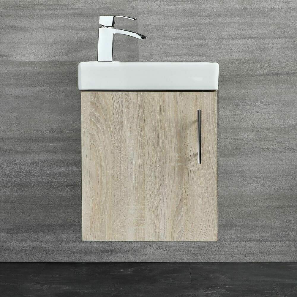 Milano Lurus Oak 400mm Compact Wall Hung Cloakroom Vanity Unit w/ Basin